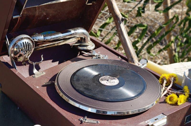 Stary rejestr w gramofonie fotografia stock