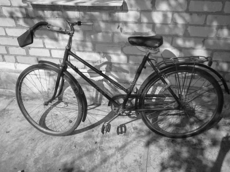 Stary retro bicykl na ścianie z cegieł Fotografia w czarny i biały stylu zdjęcie royalty free