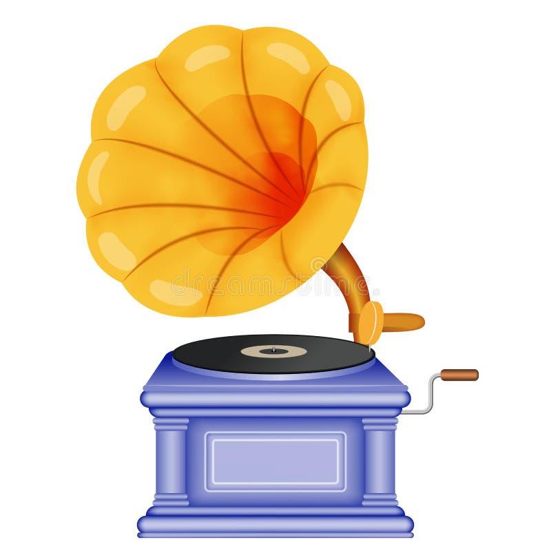 Stary retro gramofon Fonograf na białym tle Muzyka, nostalgia symbol royalty ilustracja