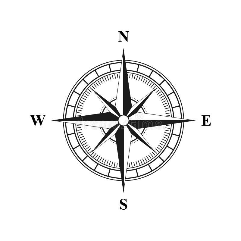 Stary retro kompas dla żeglować czerń Płaska Wektorowa ilustracja EPS 10 ilustracja wektor