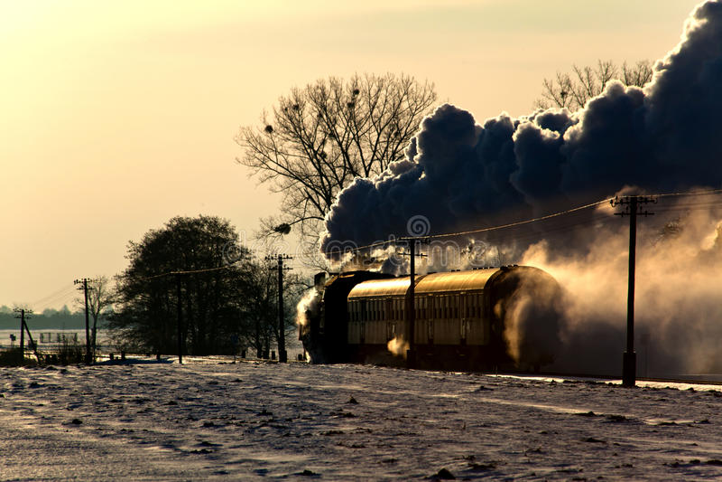 Stary retro kontrpara pociąg fotografia stock