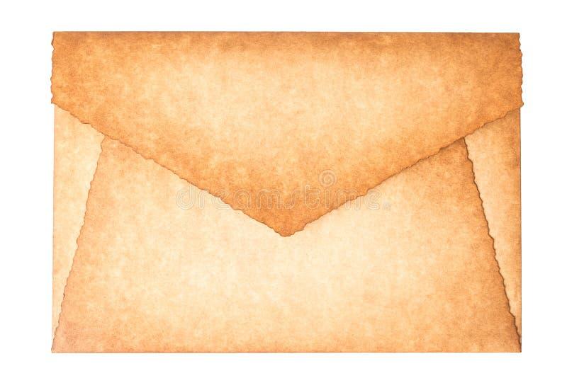 Stary rocznik palił koperta list odizolowywa na białym tle zdjęcia royalty free