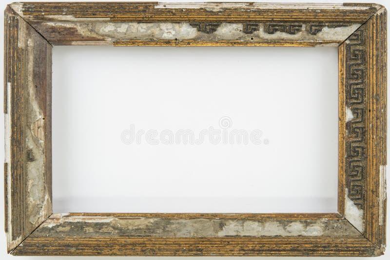 Stary rocznik przegniły opróżnia ramę na bielu obrazy royalty free