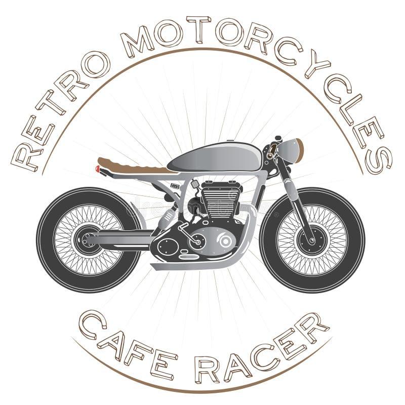 Stary rocznika motocyklu logo cukierniany setkarza temat zdjęcie royalty free