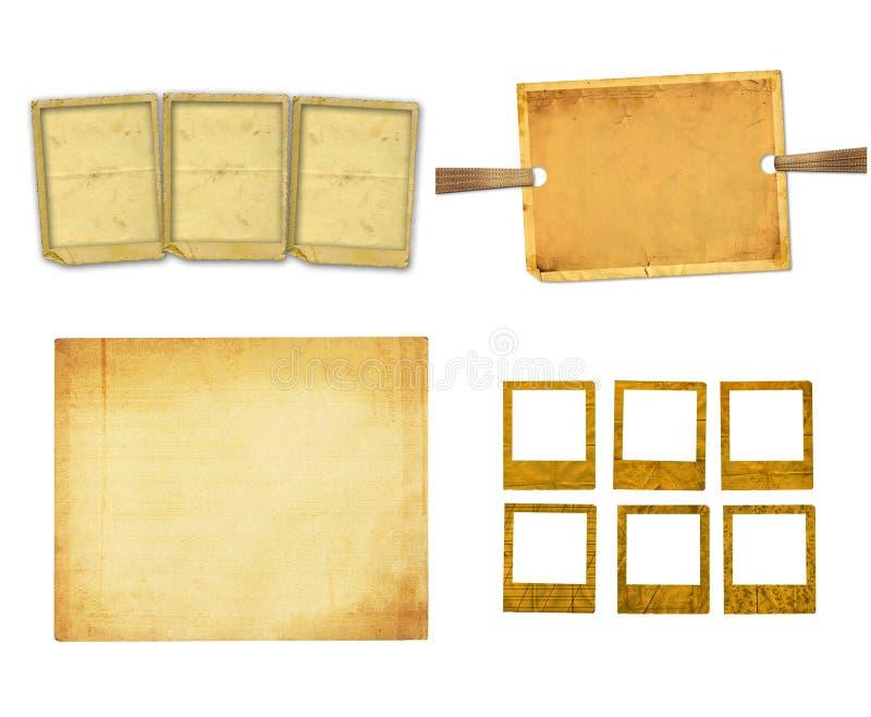 Stary rocznika papier z grunge ramami dla fotografii ilustracja wektor