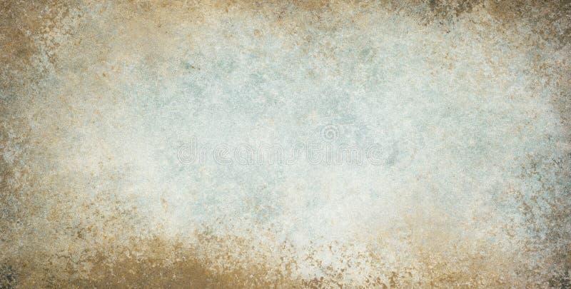 Stary rocznika tło z grunge granicy teksturą i brown kolorami błękitnych i bielu obraz royalty free