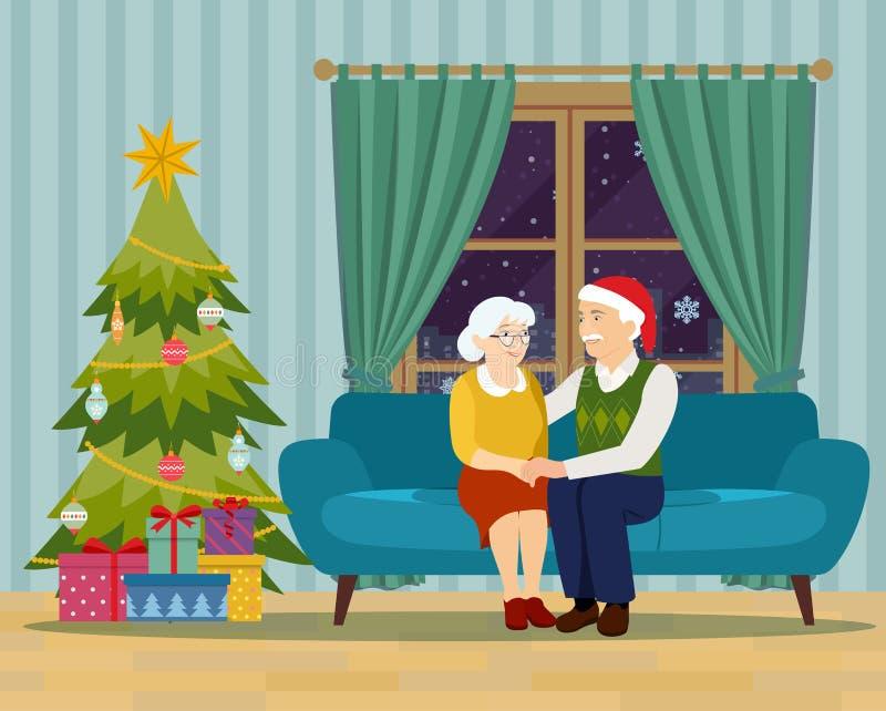 Stary rodzinny obsiadanie na kanapie w żywym pokoju boże narodzenie nowy rok szczęśliwy wesoło ilustracji