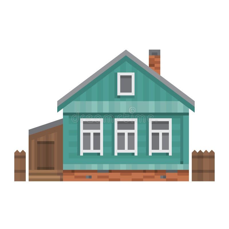 Stary Rosyjski dom na wsi Wektorowy mieszkanie ilustracji