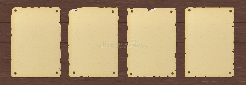Stary rozdzierający brązu papieru plakat przybijający drewniana ściana royalty ilustracja