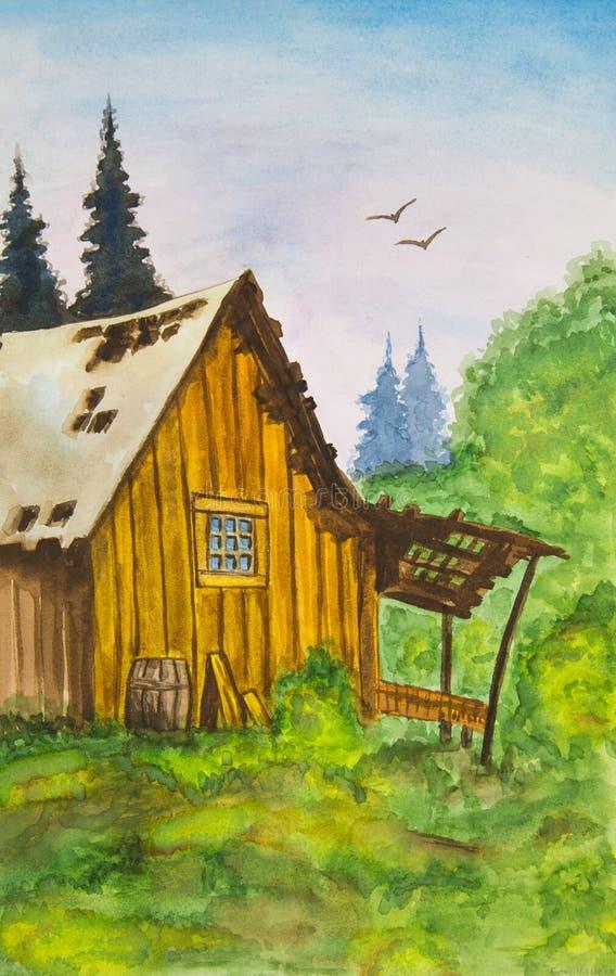 Stary rujnujący dom w lesie przeciw zielonym jodłom royalty ilustracja