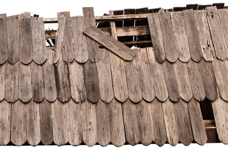 Stary rujnujący drewniany dachowy tło obraz royalty free