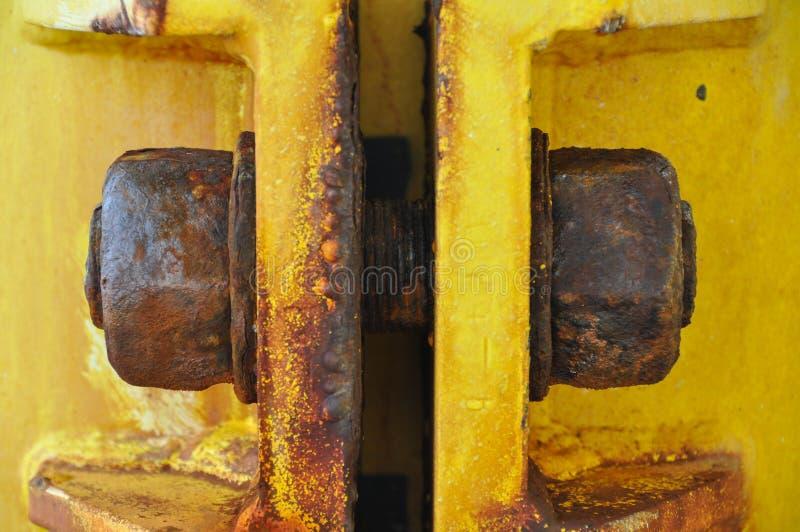 Stary rygiel budowy platforma w zatoce, wiele rdza na ryglu zdjęcia stock