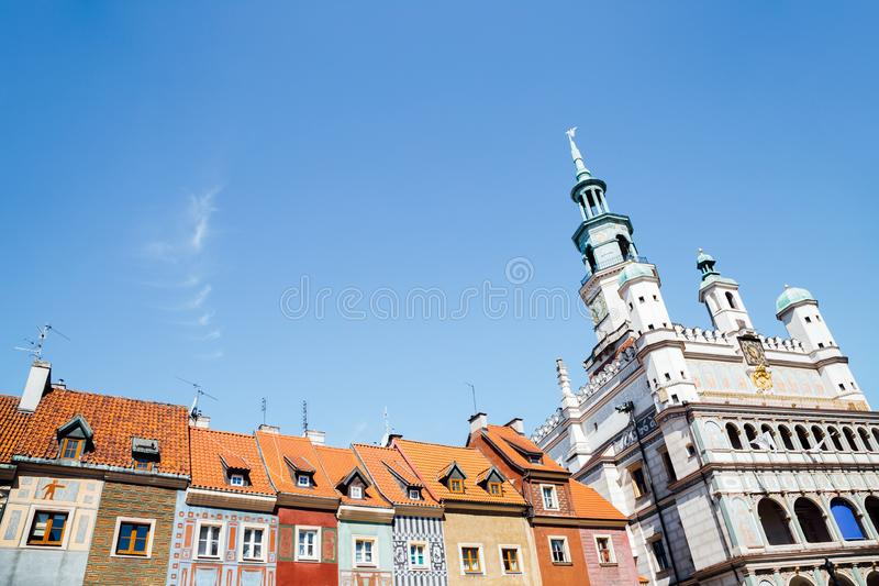 Stary Rynek old market square colorful buildings and town hall in Poznan, Poland royalty free stock photography