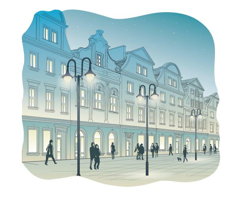 Stary rynek przy nocą ilustracja wektor