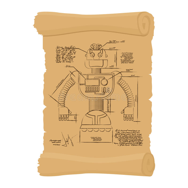 Stary rysunek robot na ślimacznicie Projekt technologiczni przyrząda royalty ilustracja