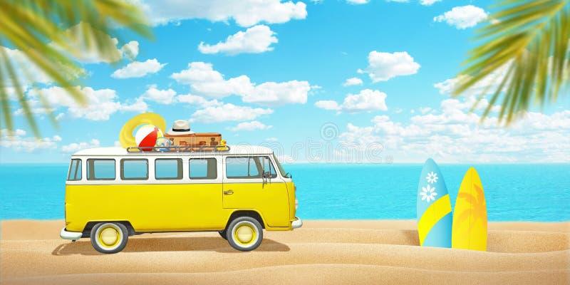 Stary samochód dostawczy i surfboards na plażowym piasku Pojęcie lata cieszyć się sport i podróż obrazy royalty free