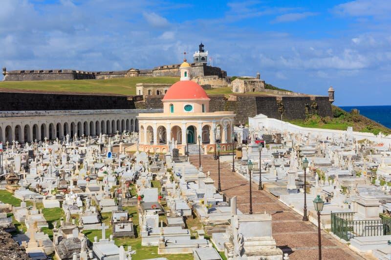 Stary San Juan, El Morro fort, i Santa Maria Magdalena cmentarz, obraz stock