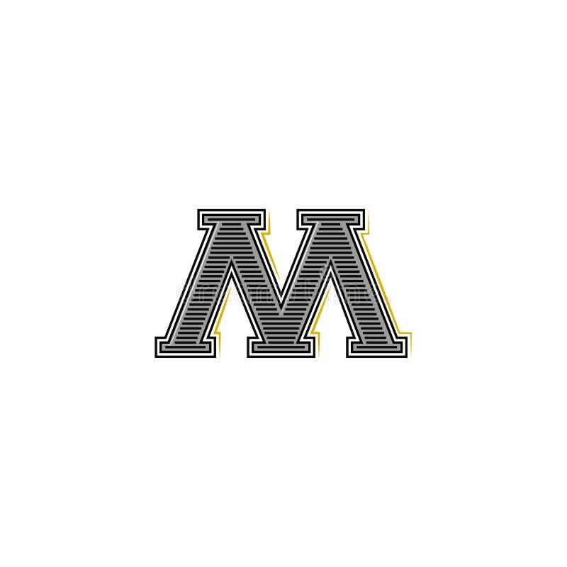 Stary serifs stylu list M parafuje logo monograma mockup, tożsamość emblemat dla wizytówki ilustracji
