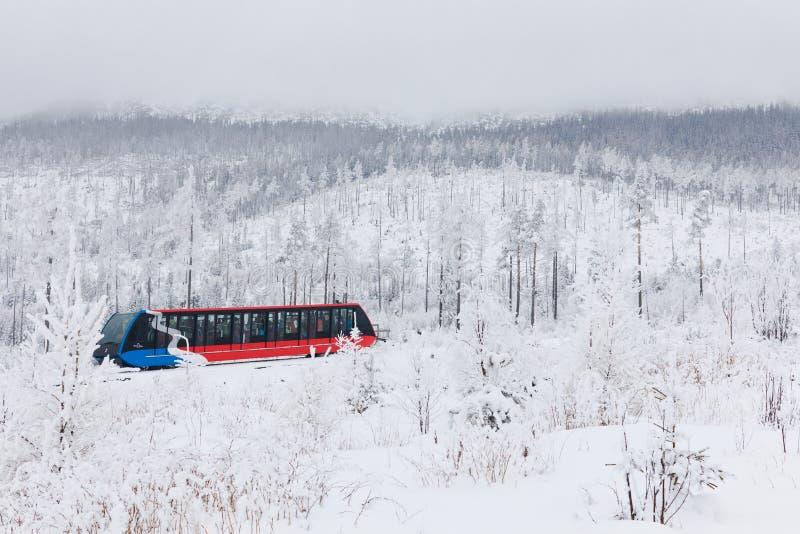 Stary Smokovac,斯洛伐克,第12 2018年2月:从Stary Smokovec的缆索铁路的电车对Hrebienok 库存照片