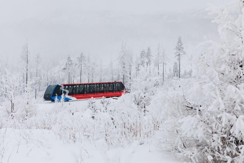 Stary Smokovac, Slovakia, 12th. February, 2018 : Funicular Tram from Stary Smokovec to Hrebienok royalty free stock photo