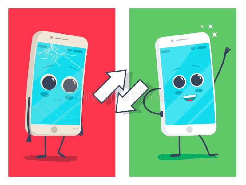 Stary smutny łamający telefon z pęknięciami, narysy i nowy szczęśliwy odnawiący uśmiechający się jasno telefon Wektorowa płaska i ilustracja wektor