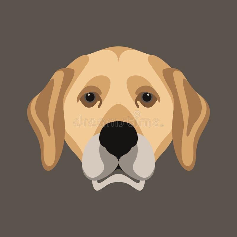 Stary smutny psiej głowy ilustraci wektorowy styl ilustracji