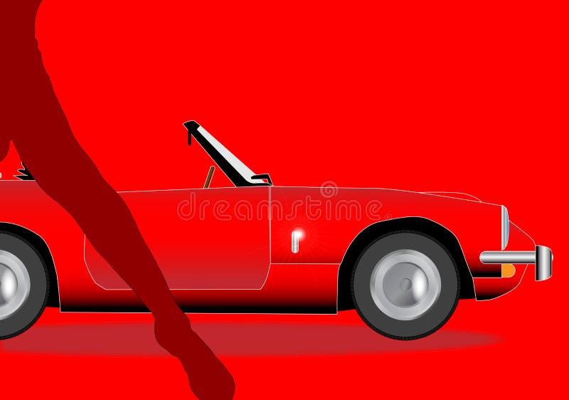 Stary sporta samochód I damy noga ilustracji