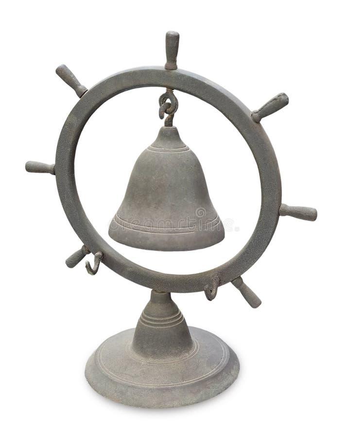 Stary Stały Mosiężny statku koło Bell na Białym tle obraz royalty free