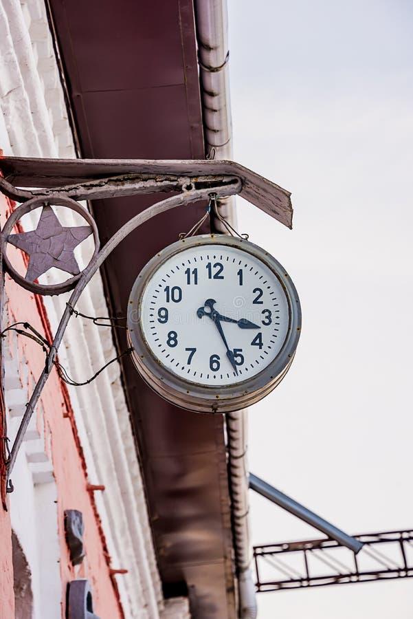 Stary stacja zegar obrazy stock