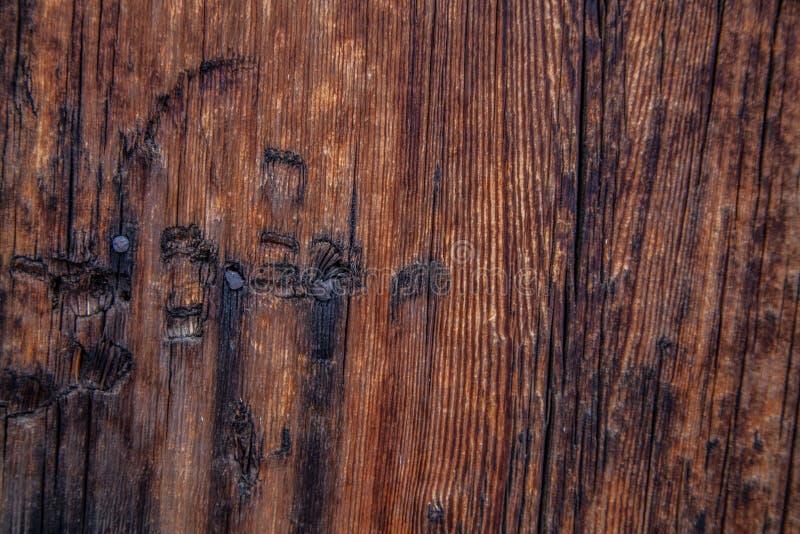 Stary stajni drewno z gwoździami i charakterem obraz stock
