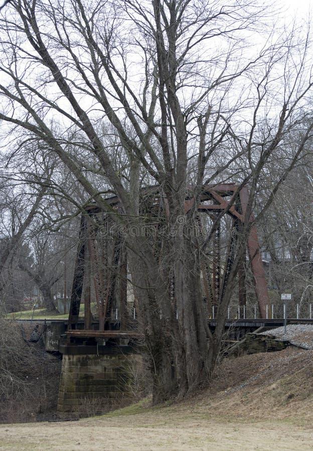 Stary stalowej ramy linii kolejowej most fotografia royalty free