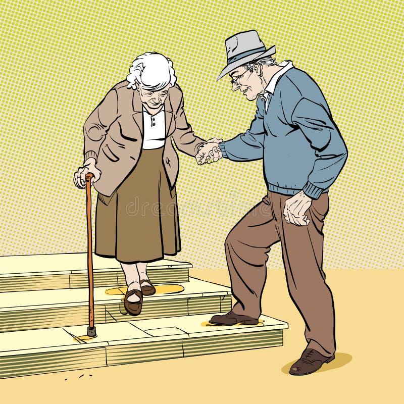 E Starzej?ca si? popielata z w?osami para royalty ilustracja