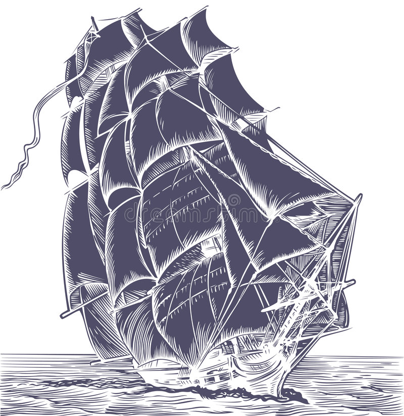 stary statek ' s sail. ilustracji