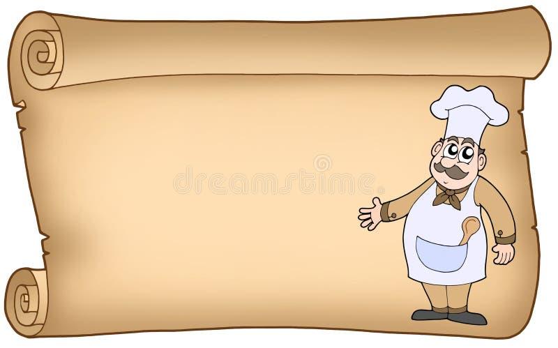 stary szef kuchni pergamin ilustracja wektor
