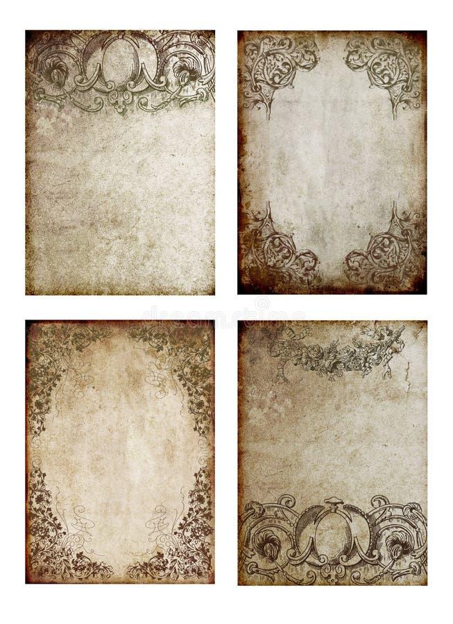 Stary tło wizerunków ACEO ATC grępluje brown dekoracyjnych elementy ilustracji