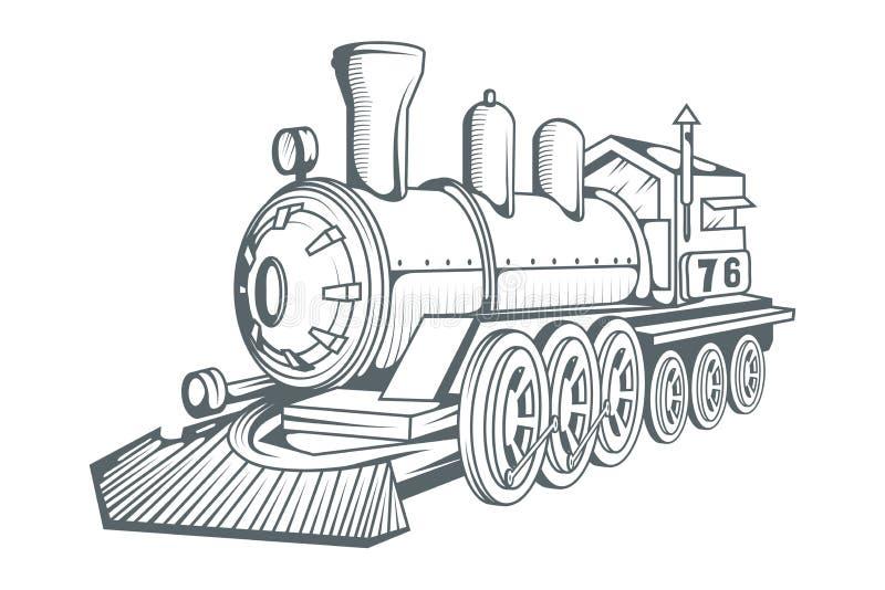 Stary taborowy logo Lokomotoryczny rysunek Parowy transport royalty ilustracja