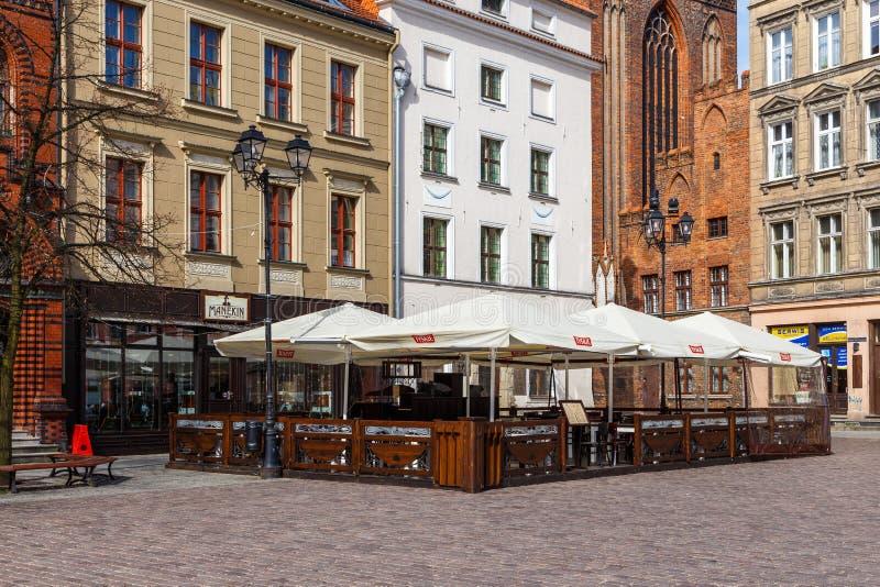 Stary Targowy kwadrat w Toruńskim stary miasto w Polska obrazy stock