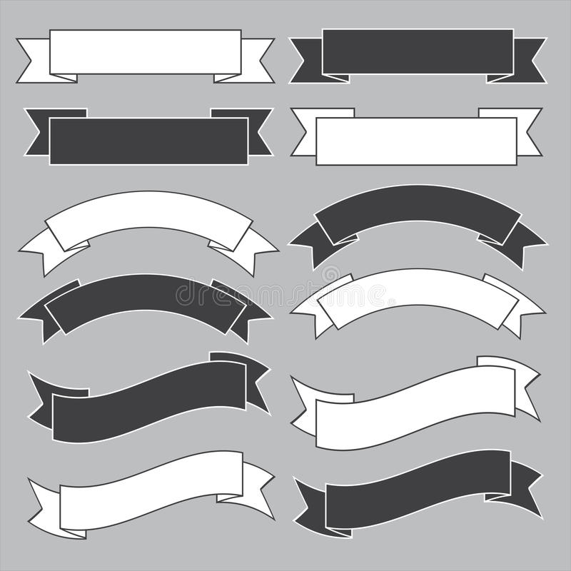 Stary tasiemkowy sztandar, czarny i biały. ilustracji