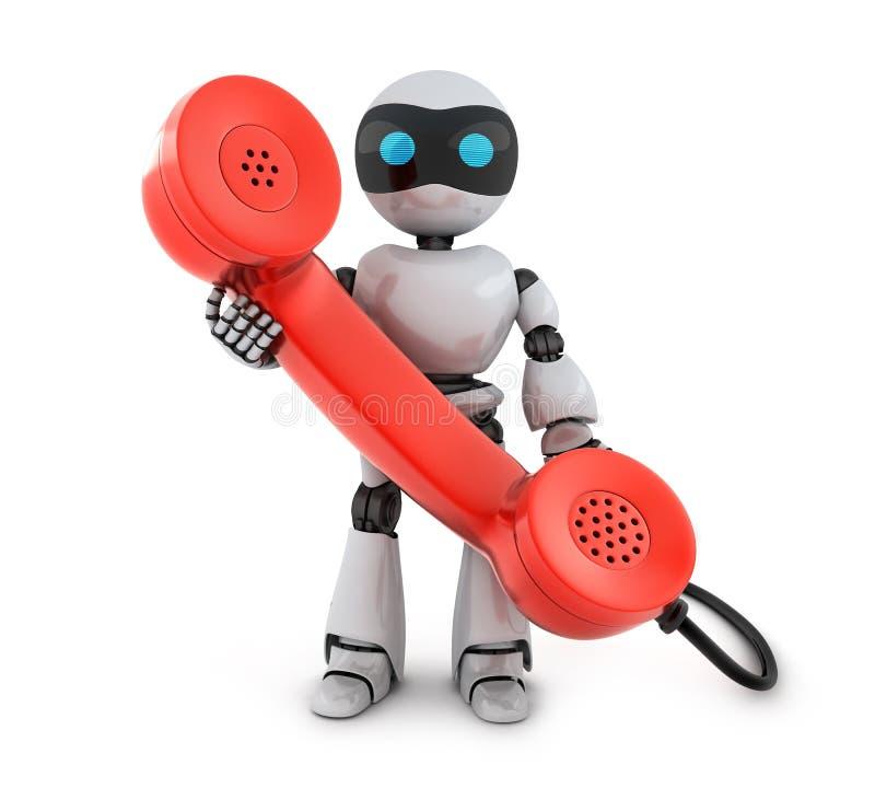 Stary telefon i robot royalty ilustracja