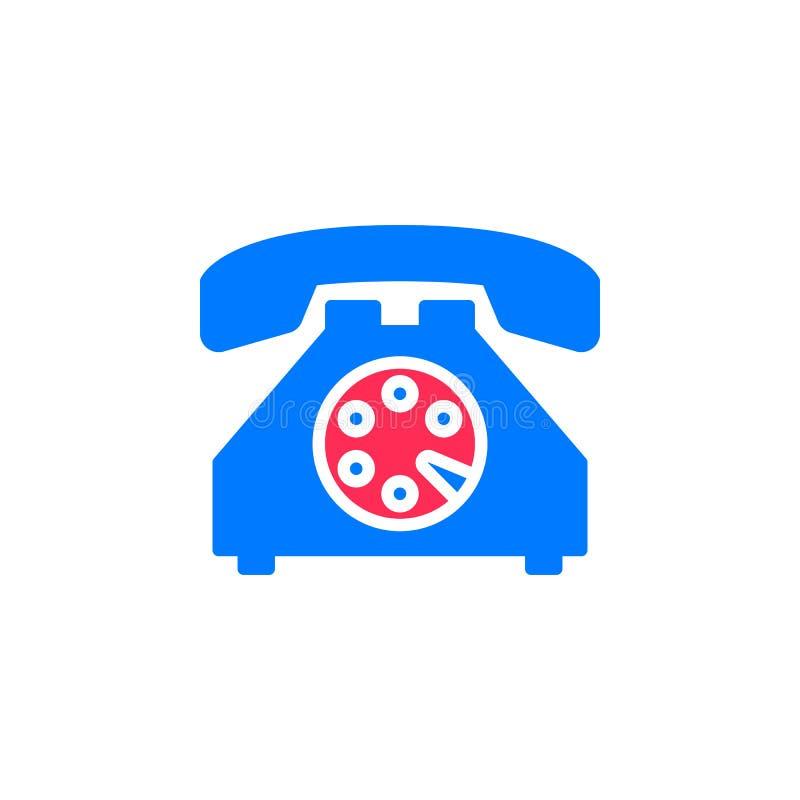 Stary telefon ikony wektor, wypełniający mieszkanie znak, stały kolorowy piktogram odizolowywający na bielu ilustracja wektor