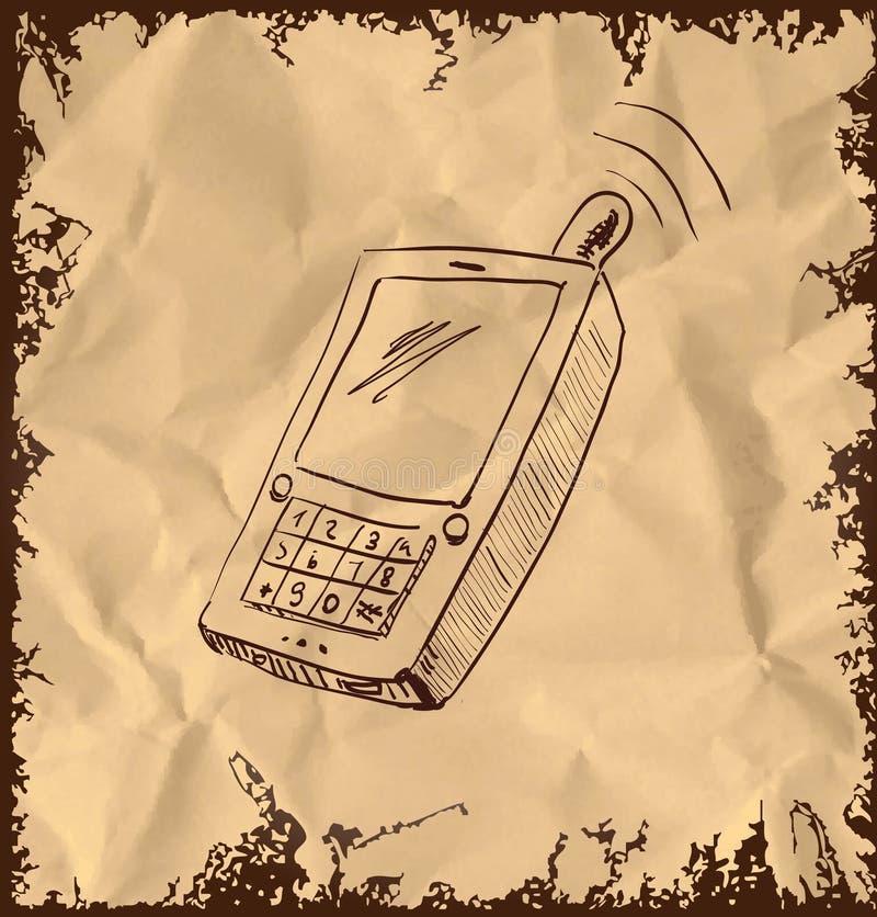 Stary telefon komórkowy na rocznika tle royalty ilustracja