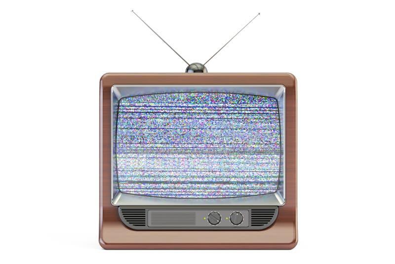 Stary telewizoru ekran z statycznym hałasem, bad sygnałowy przyjęcie royalty ilustracja