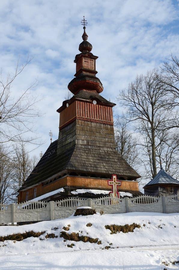 Stary tradycyjny drewniany kościół od zachodniego Ukraina fotografia royalty free