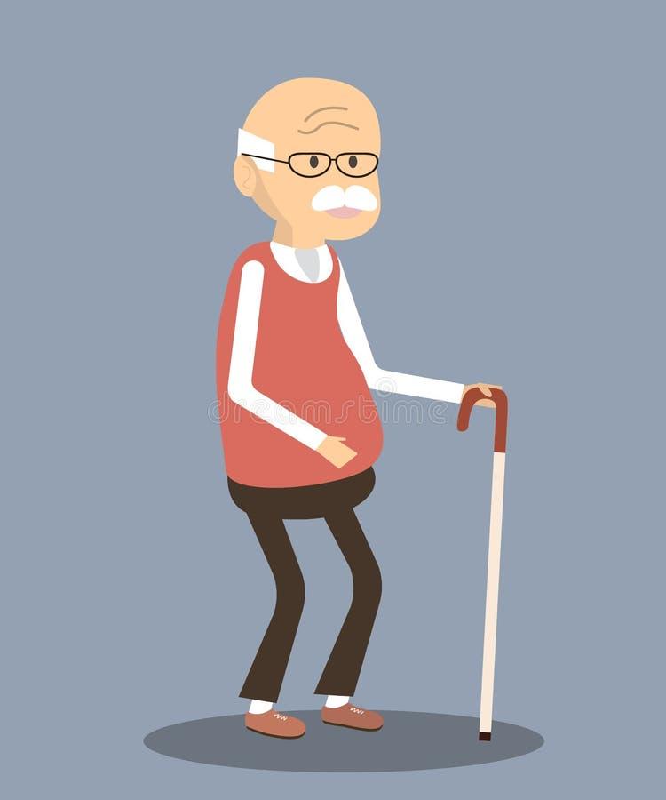stary trzcina mężczyzna ilustracja wektor