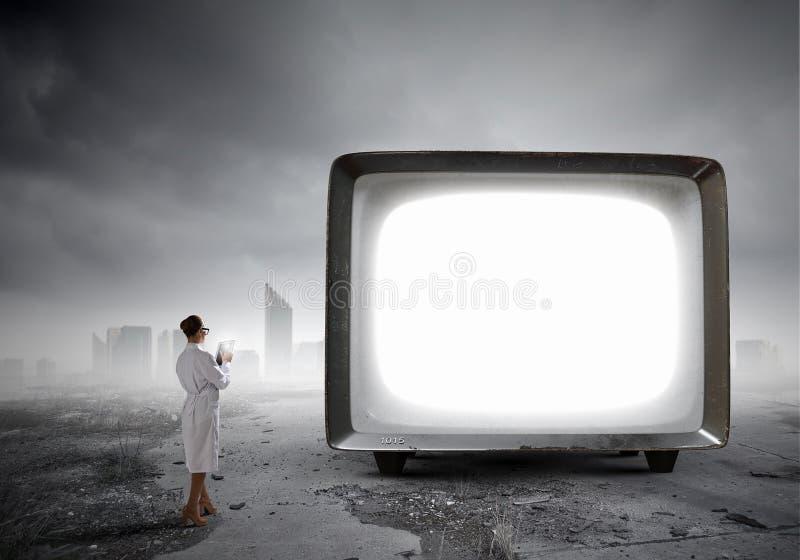 Stary TV monitor Mieszani środki obraz stock
