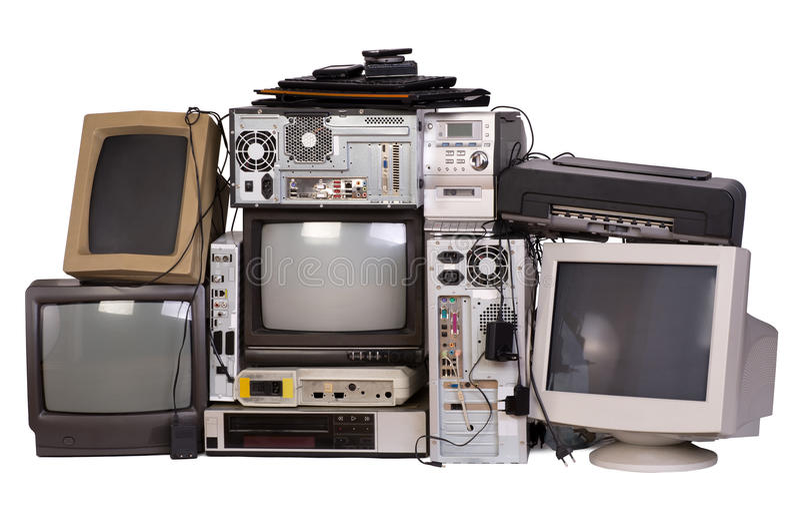 Stary, używać i przestarzały sprzęt elektroniczny, obrazy stock