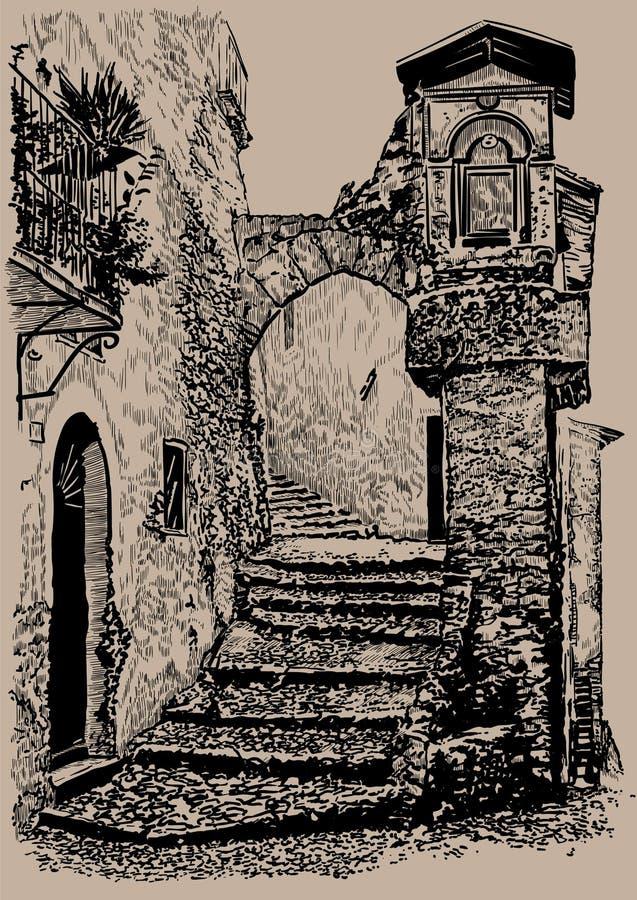 stary ulicą miasta Włochy Stary kamienia dom z łukiem i krokami Cyfrowego nakreślenia ręki Rysunkowy wektor ilustracja ilustracji