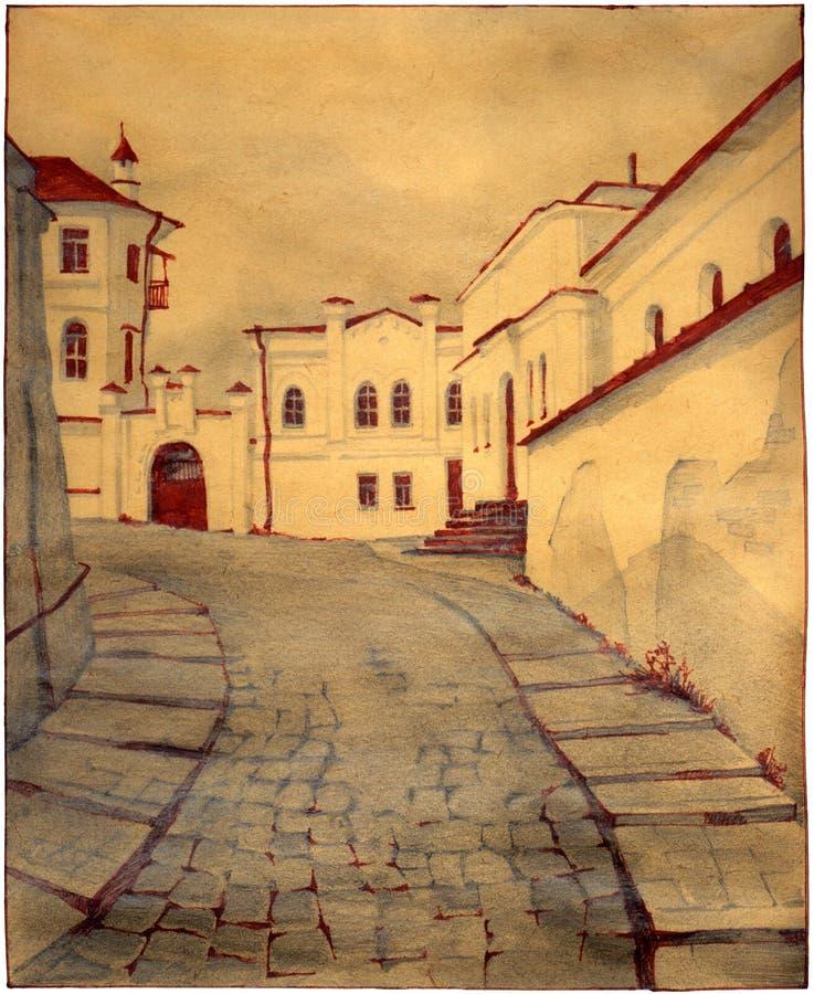 stary uliczny miasteczko royalty ilustracja