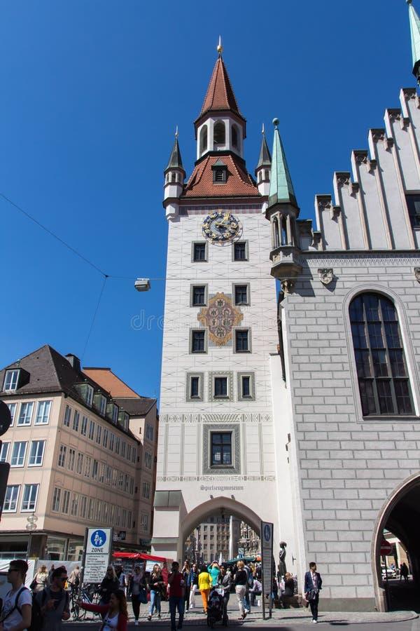 Stary urząd miasta Monachium przy Marienplatz, Niemcy, 2015 zdjęcie stock