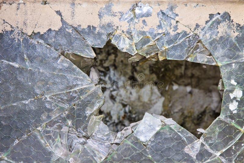 Stary uszkadzający szkło wzmacniający z drucianą siatką zdjęcie royalty free